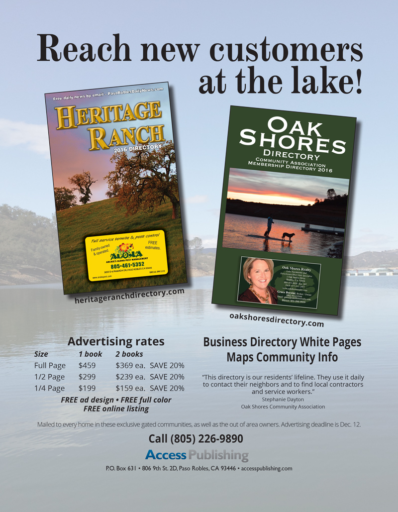 Advertising information for the Heritage Ranch Directory and Oak Shores Directory